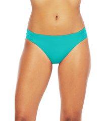 women's trina turk studio solids shirred tab side bikini bottoms, size 8 - green