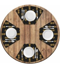 jogo americano   para mesa redonda wevans abacaxis kit com 4 pçs  love decor