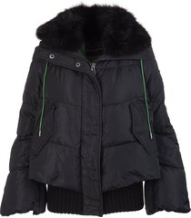 ermanno scervino black and green short down jacket in taffeta and nylon with fox fur