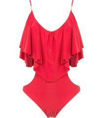 brigitte ruffled bodysuit - red