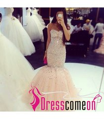 sexy mermaid sweetheart sequins beaded tulle champagne prom dress/evening gown