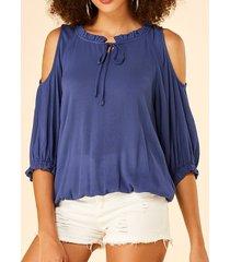 yoins azul con hombros descubiertos y cordones diseño blusa con borde de lechuga
