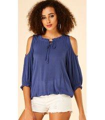 yoins azul con cordones y hombros descubiertos diseño blusa con borde de lechuga