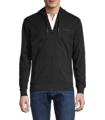 armani jeans men's logo-embroidered stretch-cotton hooded jacket - black - size xl