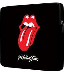 capa para notebook the rolling stones 15 polegadas com bolso - unissex