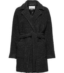 boucle wool wollen jas lange jas grijs ganni