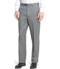 men's berle self sizer waist flat front classic fit wool gabardine trousers, size 34 x unhemmed - grey