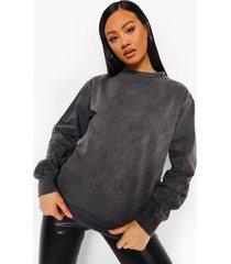acid wash gebleekte donkergrijze sweater, charcoal