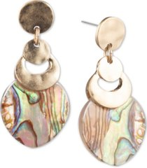 lonna & lilly gold-tone abalone-look medium drop earrings
