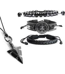 pulseiras marshop bussola com tribal preto
