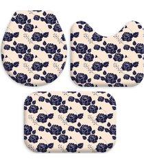 kit 3 tapetes decorativos para banheiro wevans flores off white