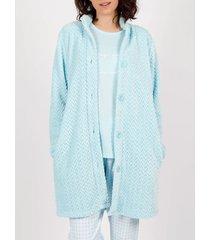 pyjama's / nachthemden admas vliesbadjas geniet van vichyblauwe adma's