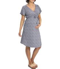 women's angel maternity floral wrap maternity/nursing dress, size large - blue