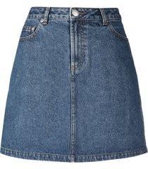 a.p.c. a-line cotton denim skirt - blue