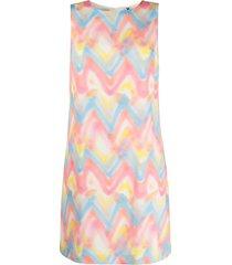 m missoni zig-zag tie-dye print shift dress - pink