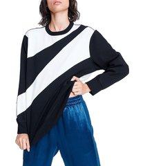 rag & bone women's abstract zebra sweatshirt - black white - size xxs