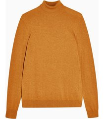 mens brown toffee marl roll neck sweater