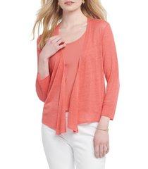 women's nic+zoe 4-way convertible three quarter sleeve cardigan, size xx-large - coral