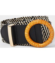 river island womens black monochrome stripe raffia belt