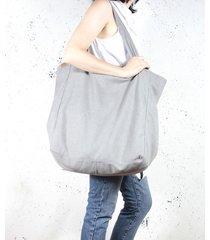 big lazy bag torba jasnoszara na zamek / vegan