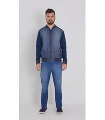 jaqueta zinco bomber detalhe retilinea jeans