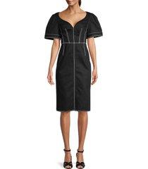 alexander mcqueen women's puff-sleeve denim dress - nero - size 42 (6)
