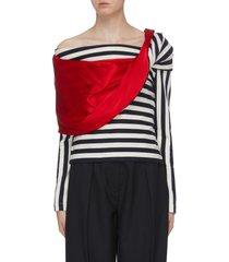 'streisand' colourblock stripe herringbone one-shoulder top