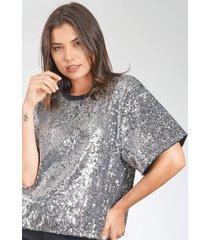 camiseta colcci paetê prata - kanui