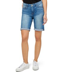 women's jen7 high waist denim bermuda shorts, size 18 - blue