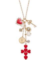 "thalia sodi gold-tone crystal & imitation pearl multi-charm cross pendant necklace, 35"" + 3"" extender, created for macy's"