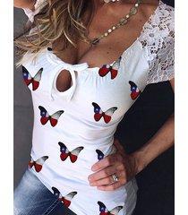 camiseta de manga corta con cuello redondo y estampado de mariposa blanca yoins