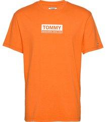 tjm white box logo tee t-shirts short-sleeved orange tommy jeans