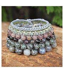 labradorite and pink aventurine wristband bracelet, 'bangkok orchid' (thailand)