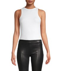 avec les filles women's roundneck cotton-blend bodysuit - white - size xs
