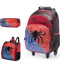 kit escolar infantil mochila de rodinha + lancheira + estojo spector aranha