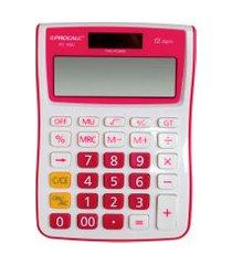 calculadora de mesa procalc pc100 p gt 12 dígitos branco e pink