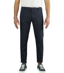 berwich morello overcheck blue chino trousers