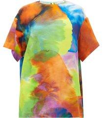 neon tie-dye print long-line silk top