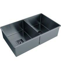 cuba para cozinha dupla primaccore semi top mount 70x42x20cm black matte - debacco - debacco