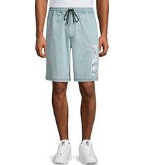 denim logo shorts