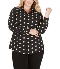 plus size women's foxcroft rhea clipped circle shirt, size 16w - black