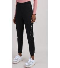 calça de moletom feminina cargo cintura média preta