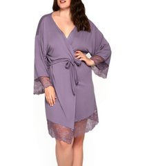 women's plus size ultra soft robe trimmed in tonal lace