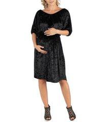 24seven comfort apparel off shoulder knee length black velvet maternity dress