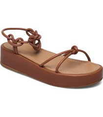 heather umber leather shoes summer shoes flat sandals brun flattered