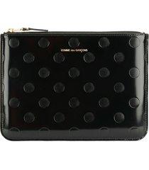 comme des garçons wallet embossed polka dots wallet - black