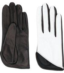 manokhi textured two-tone gloves - white