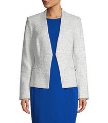 textured open-front blazer