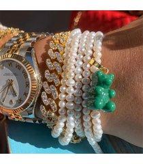 crystal haze women's mexican chain bracelet - gold