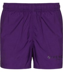 givenchy logo swimming shorts - purple